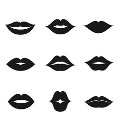 lips black shape icon set vector image
