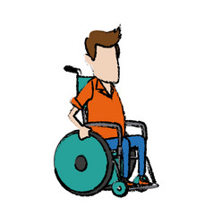 Man character disabled sitting in wheelchair image vector