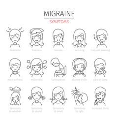 Migraine symptoms outline icons set vector