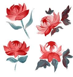 Oil painted flowers set vector