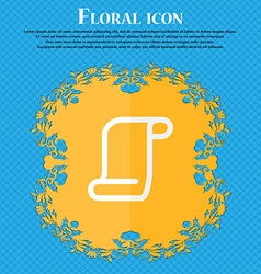 Paper scroll floral flat design on a blue vector