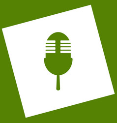 Retro microphone sign white icon obtained vector