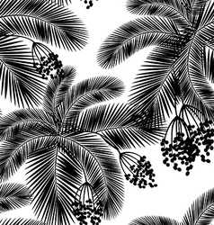 Seamless black and white palm leaves and fru vector