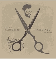 Set of Barber Shop design elements with bearded vector image vector image