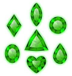 Set of green gems isolated on white vector image