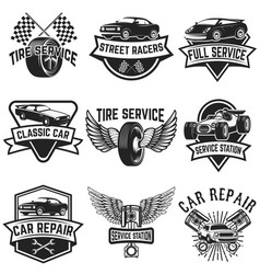 Set of tire service car repair labels pistons car vector