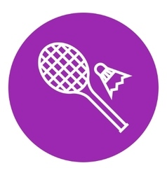 Shuttlecock and badminton racket line icon vector
