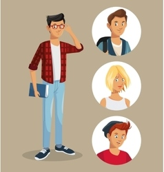 Teen boy with glasses book friends icons vector