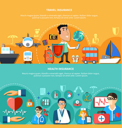 Vacation and health insurance horizontal banners vector