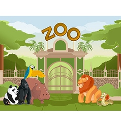 Zoo gate with animals 2 vector image