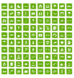 100 glasses icons set grunge green vector image vector image