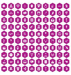 100 heart icons hexagon violet vector