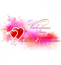 valentines pixelated background with hearts vector image