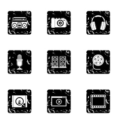 Electronic equipment icons set grunge style vector