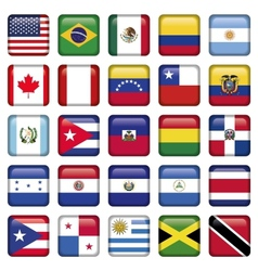 American Flags squared Icons vector image