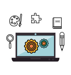Laptop and objects design vector