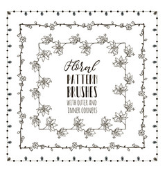 Floral pattern brushes with branches vector