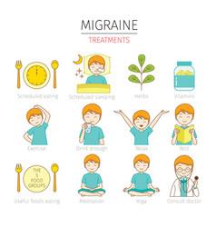 Migraine treatments icons set vector