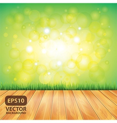 Grass nature background wooden floor vector