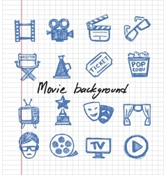 Blue movie icon set vector