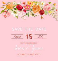 Wedding invitation template floral card vector
