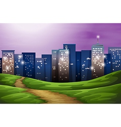 A city with tall buildings vector