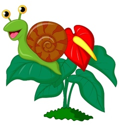 Cute snail cartoon on leaf vector