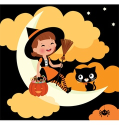 Little witch riding on the moon on halloween night vector