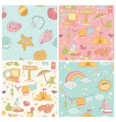 Set of Seaside and Summer Background vector image