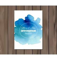 Wedding invitation with watercolor stain vector