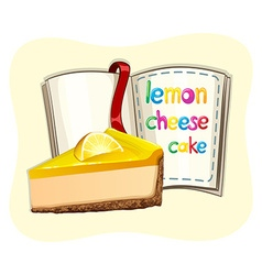 Lemon cheesecake and a book vector