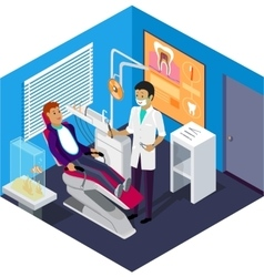 Isometric dentist office during reception patient vector