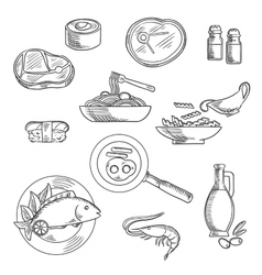 Healthy breakfast and lunch sketched icons vector