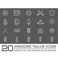 Set of tailoring tailor sew elements and sewing vector
