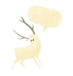Cartoon white stag with speech bubble vector