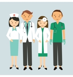Medical team doctor nurse group worker standing vector