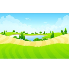 Green landscape with lake vector