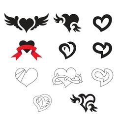 Collection of simply hearts vector image