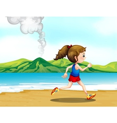 A girl jogging at the seashore vector image