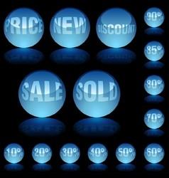 Blue glass spheres vector