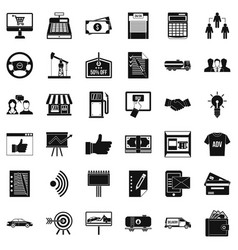 Business company icons set simple style vector