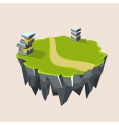Cartoon Stone Grassy Isometric Island for Game vector image vector image