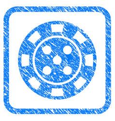 Casino chip framed grunge icon vector