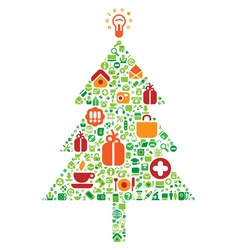 Christmas tree of icons vector image