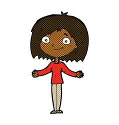 Comic cartoon woman shrugging shoulders vector