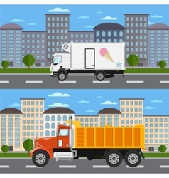 Commercial truck on road in city vector