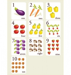 counting vegetables vector image vector image