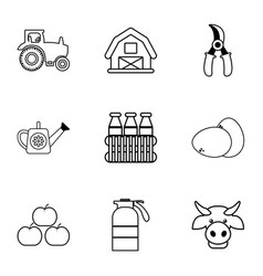 Farmer equipment icons set outline style vector