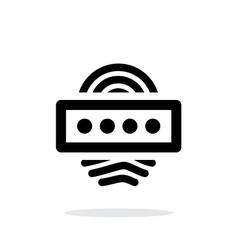 Fingerprint password icon on white background vector