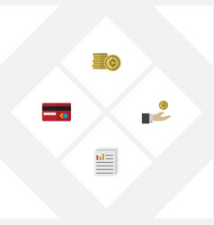 flat exchequer set of cash payment hand with vector image